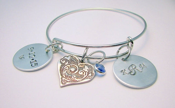 design your own adjustable bangle, custom personalized hand stamped bangle, Bracelet with kids names and dates