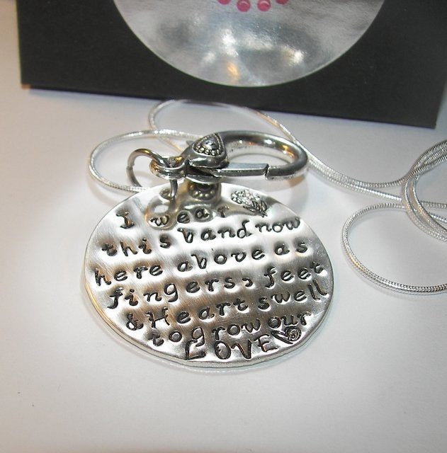 Sterling silver Maternity ring holder, Ring holder necklace personalized jewelry,  mommy necklace hand stamped jewelry