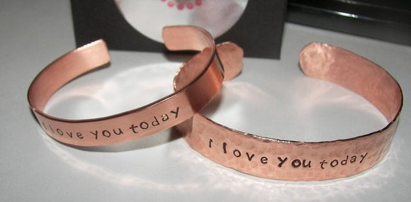 unisex copper cuff bracelet  , custom personalized cuff bracelet or dad, hand stamped jewelry for him