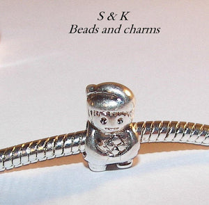 925 sterling boy charm, large hole charm bead for snake chain bracelets, European charm bracelet charms