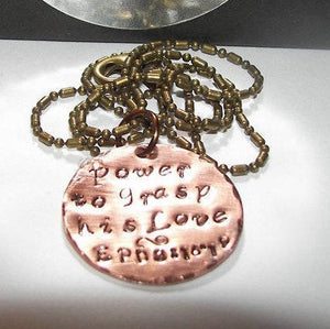 The power to grasp his love Ephesians, custom personalized jewelry ,  hand stamped jewelry for mom