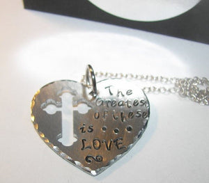 And the greatest of these is love, Hand stamped jewelry, hand stamped necklace, engraved necklace, Christian necklace,  quote, handstamped