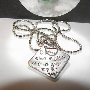 Open the eyes of my heart Lord necklace, custom hand stamped jewelry , personalized religious necklace