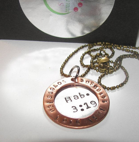 Sovereign Lord is my strength Hab.3:9, personalized  jewelry for mom, cutom hand stamped necklace