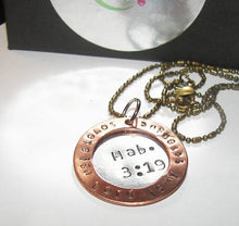 Load image into Gallery viewer, Sovereign Lord is my strength Hab.3:9, personalized  jewelry for mom, cutom hand stamped necklace