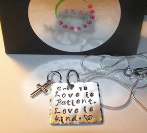 Love is Patient love is kind, Hand stamped jewelry, personalized jewelry,  faith jewelry, hand stamped jewelry, religious jewelry