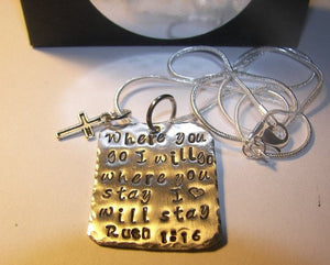 Ruth 1:13, mommy necklace where you go I will go . Personalized hand stamped jewelry. Handstamped gift for her.