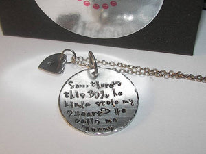 So..There's This Boy Who Stole My Heart mommy necklace, He calls me MOM , Personalized hand stamped mommy  jewelry with kid name