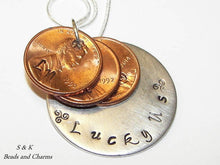 Load image into Gallery viewer, Lucky Us personalized penny necklace ,  Custom hand stamped  penny jewelry for mom , mothers jewelry handstamped jewelry