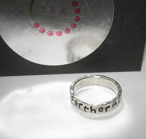 personalized pewter ring, custom hand stamped jewelry,  mens dad ring handstamped jewelry