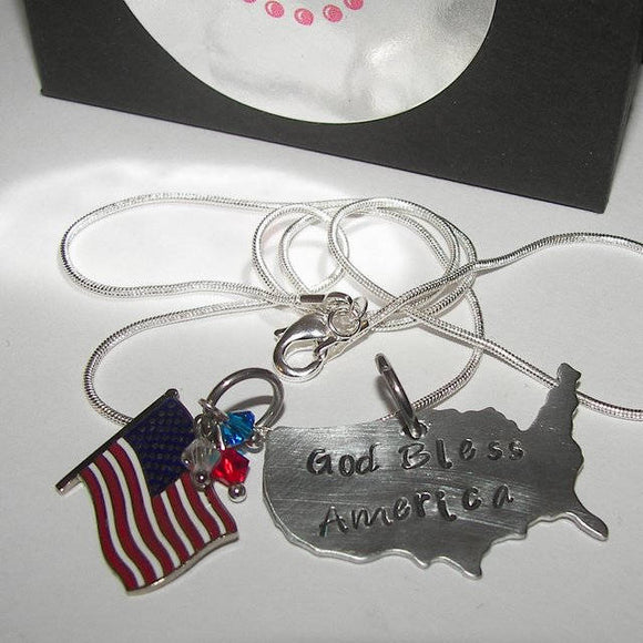USA necklace personalized  partiotic jewelry, custom personalized hand stamped  necklace,military wife jewelry handstamped jewelry