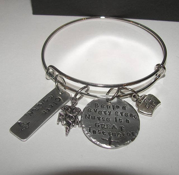 Behind every nurse is a great instructor bangle bracelet, hand stamped jewelry,  RN nurse gift, personalized  jewelry