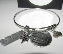 Load image into Gallery viewer, Behind every nurse is a great instructor bangle bracelet, hand stamped jewelry,  RN nurse gift, personalized  jewelry