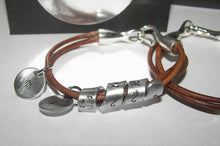 Load image into Gallery viewer, Personalized jewelry, Leather  bracelet, hand stamped jewelry , custom jewelry, couples bracelets, Men's Gift, Secret Message, Men's Cuff,