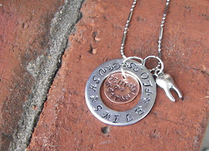 sterling silver dental charm necklace,  gift for dental student,custom personalized hand stamped necklace