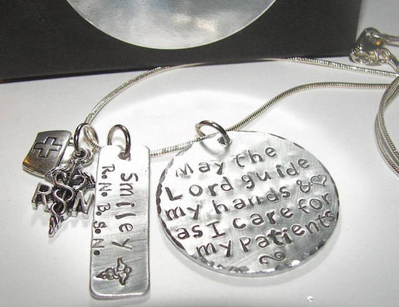 May the lord guide my hands, Nurses instructor gift, Hand stamped jewelry, mothers neclace, mothers jewelry, mommy necklace, hand stamped