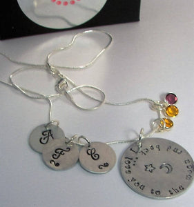 I love you to the moon an back mommy necklace, custom personalized hand stamped jewelry, mommy jewelry with kids names