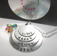 Load image into Gallery viewer, Stacked 4 layer Mommy Necklace, Hand Stamped Necklace with kids names, personalized jewelry gift for mom