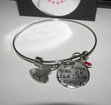 Load image into Gallery viewer, I love you to the moon and back adjustable bangle bracelet, custom personalized hand stamped bangel bracelet, mothers bangle with kids names