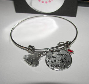 I love you to the moon and back adjustable bangle bracelet, custom personalized hand stamped bangel bracelet, mothers bangle with kids names