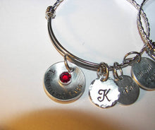Load image into Gallery viewer, Adjustable bangle bracelet, twinning , twin gift, personalized jewelry, Hand stamped jewelry, engraved, custom stamped, personalized gift