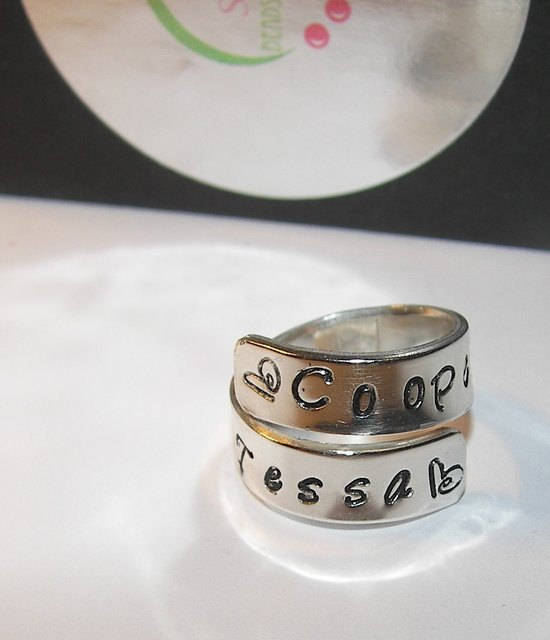 Sterling silver wrap ring with kids names,  personalized hand stamped mom ring,  Customized ring gift for mom