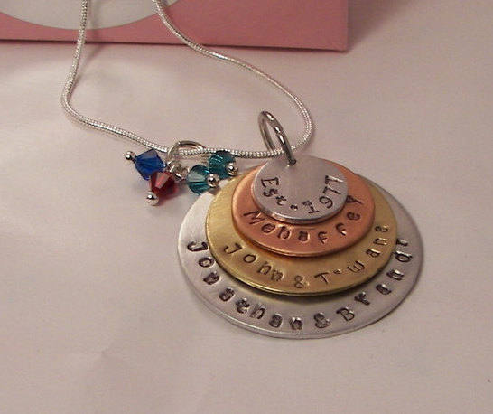 Custom jewelry gift for mom with kids names and birthstones, hand stamped mothers necklace in mixed metals ,  Mother's personalized jewelry