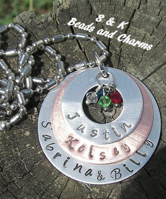 personalized Mothers necklace with kids names, Custom personalized hand stamped jewelry,  handstamped name necklace