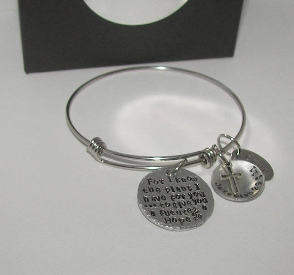 Sterling silver For I know the Plans I have for you custom hand stamped jewelry, personalized religious adjustable bangle, Jeremiah 29:11