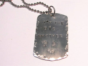 I am the big sister/brother kids necklace, new sister gift, new brother gift, personalized jewelry for kids