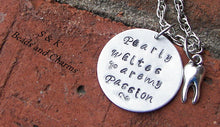 Load image into Gallery viewer, Sterling silver Dental assistiant or dental hygiene necklace, custom hand stamped personalized jewelry for dental staff handstamped jewelry