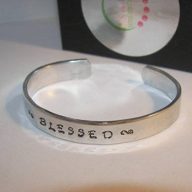 Sterling silver Blessed Cuff Bracelet,  Daily Reminder Inspirational Jewelry, Motivational Bracelet Hand Stamped jewelry