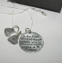 Load image into Gallery viewer, Sterling silver Nothing beats being a mom, personalized jewelry , Hand stamped jewelry, mommy jewelry, engraved, custom stamped