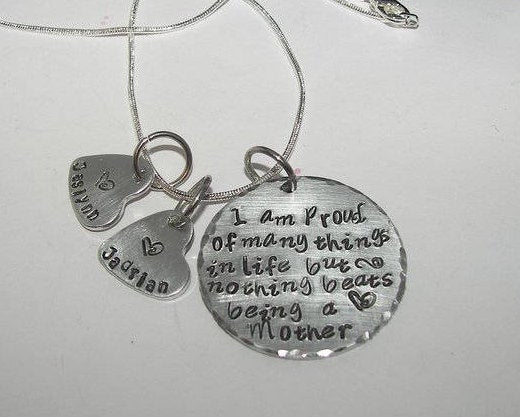 Sterling silver Nothing beats being a mom, personalized jewelry , Hand stamped jewelry, mommy jewelry, engraved, custom stamped