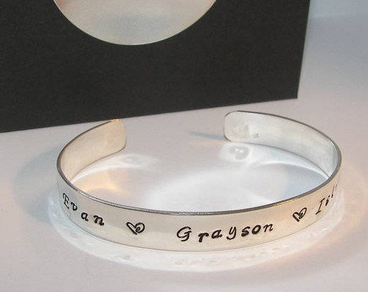 sterling silver cuff mothers jewelry, Hand stamped personalized jewelry , custom hand stamped cuff with kids names