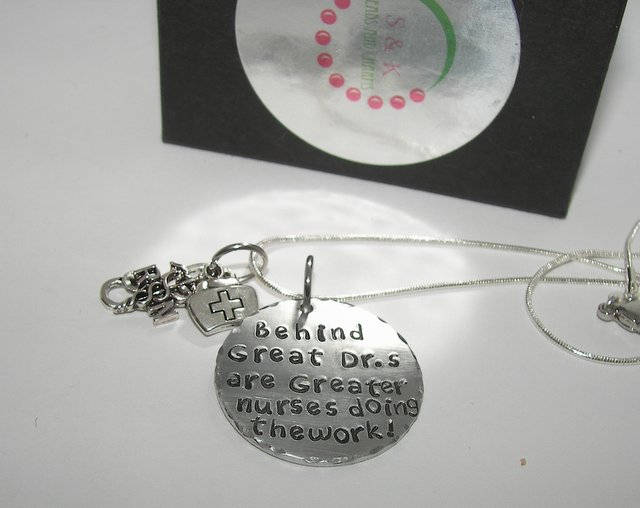 Behind every Dr is a nurse , custom personalized hand stamped neckalce gift for RN or LPN, Nurses gift necklace handstamped jewelry