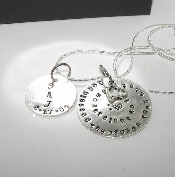 God blessed the broken road custom personalized necklace, Custom Hand stamped jewelry, Anniversary gift for couples handstamped jewelry