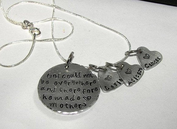 Sterling silver God could not be everywhere so he created mom , custom personalized hand stamped jewelry, mommy necklace with kids names