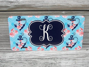 Personalized car tag , beach theme car tag, anchor car tag, font license plate tag, custom car tag, custom car plate, custom car license