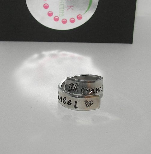 Mommy of a angel ring, custom personalized hand stamped memorial ring, angel baby ring memorial ring for mom handstamped jewelry