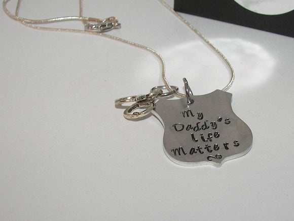 My daddy's life matters blue lifes matter necklace  , law informent support gifthandstamped jewelry
