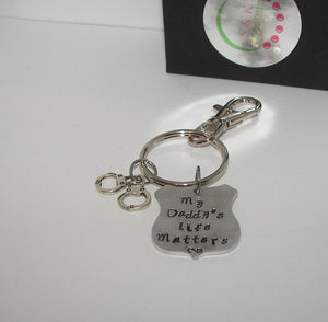 My daddy's life matters  keychain, blue lifes matter , law informent support gifthandstamped jewelry