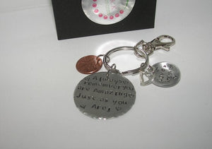 Always remember you are amazing just the way you are, custom personalized graduation gift , hand stamped keychain jewelry