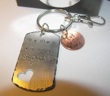 Load image into Gallery viewer, Personalized gift with your wording . hand stamped key ring , custom stamped giftshandstamped jewelry