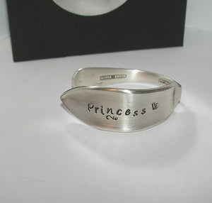 Princess vintage silverware kids  cuff, personalized hand stamped cuff bracelet, custom spoon jewelry