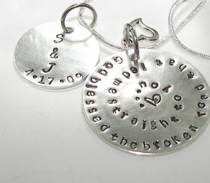 God blessed the broken road personalized keychain,  Handstamped jewelry, Anniversary keyring, hand stamped key ringhandstamped jewelry