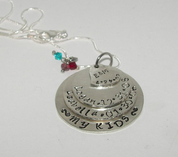 sterling silver necklace with kids names for mom, 4 layer mom necklace , grandmothers necklace from kids