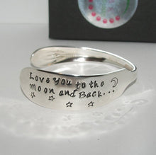 Load image into Gallery viewer, I love you to the moon and back vintage silver plate silverware cuff, personalized hand stamped cuff bracelet, custom spoon jewelry