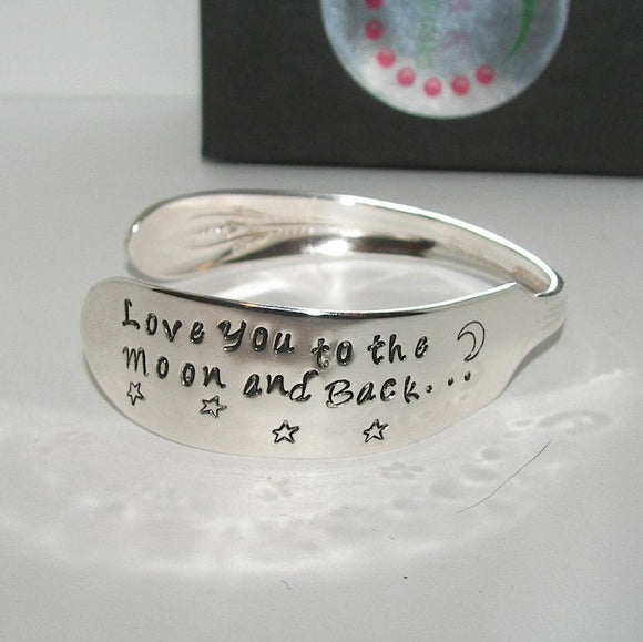 I love you to the moon and back vintage silver plate silverware cuff, personalized hand stamped cuff bracelet, custom spoon jewelry