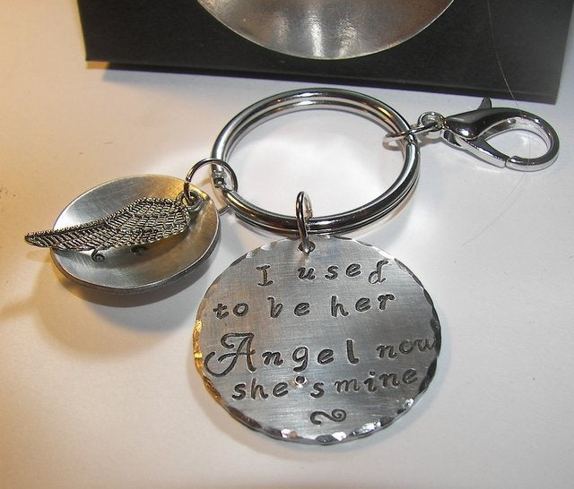 I use to be her angel now she is mine, personalized hand stamped keychain, Memorial keychain, custom jewelryhandstamped jewelry